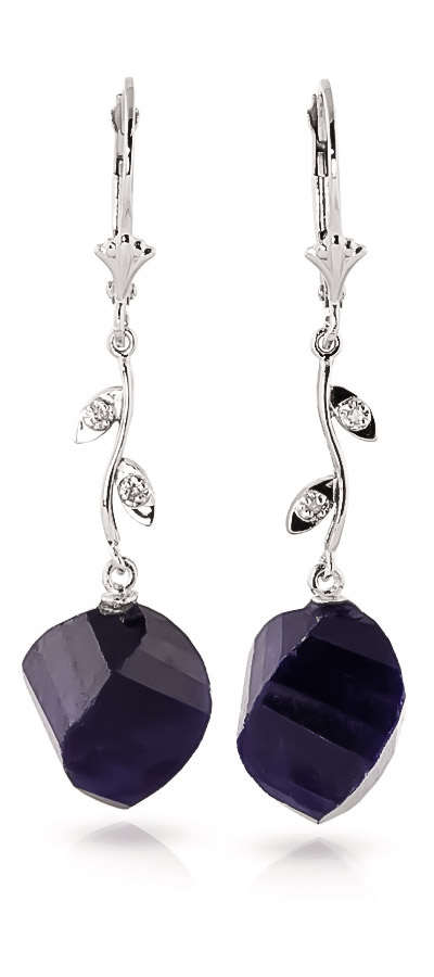Sapphire Drop Earrings 30.52 ctw in 9ct White Gold