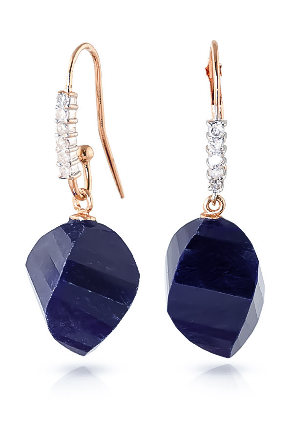 Sapphire Drop Earrings 30.68 ctw in 9ct Rose Gold