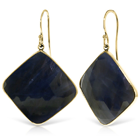 Sapphire Drop Earrings 43.5 ctw in 9ct Gold