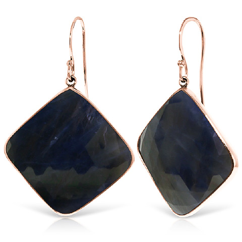Sapphire Drop Earrings 43.5 ctw in 9ct Rose Gold
