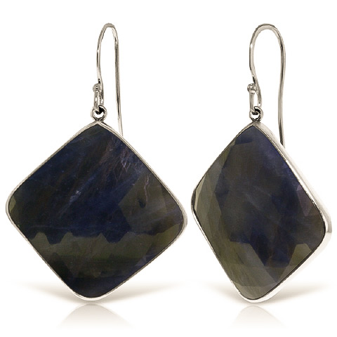 Sapphire Drop Earrings 43.5 ctw in 9ct White Gold