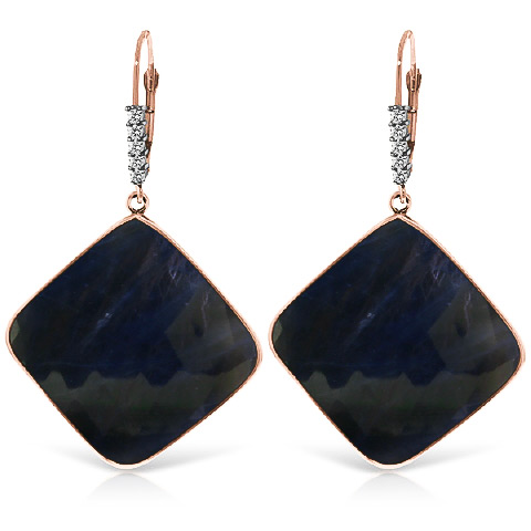 Sapphire Drop Earrings 43.65 ctw in 9ct Rose Gold