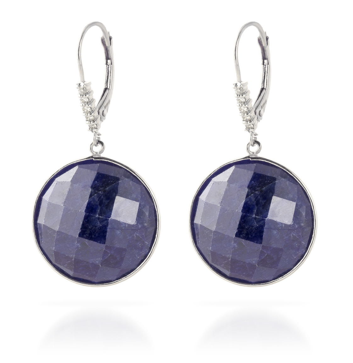 Sapphire Drop Earrings 46.15 ctw in 9ct White Gold