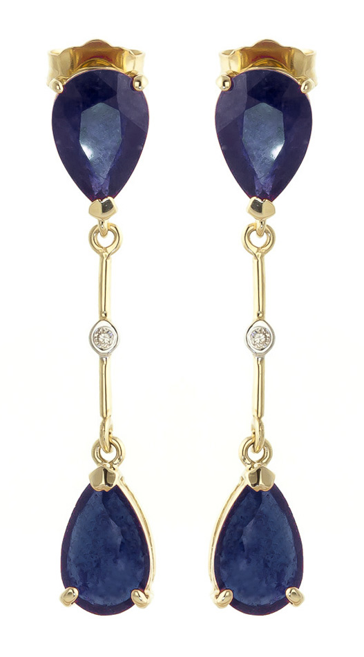 Sapphire Drop Earrings 7.01 ctw in 9ct Gold