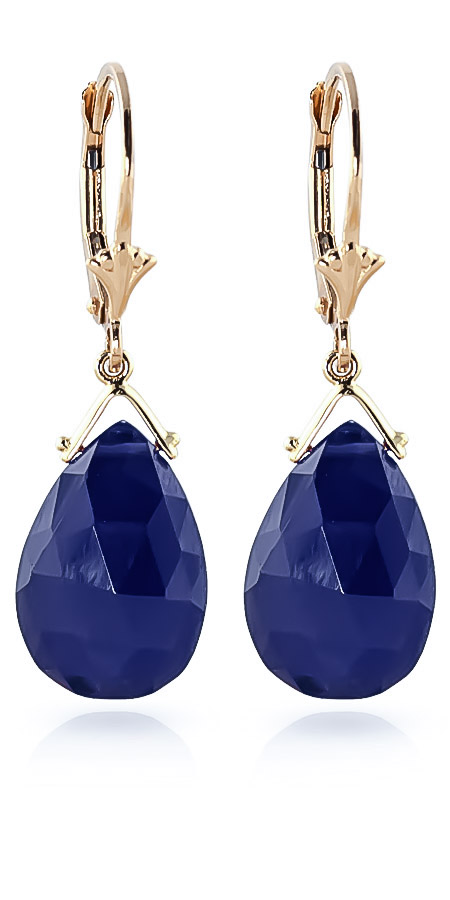 Sapphire Droplet Earrings 15.6 ctw in 9ct Gold