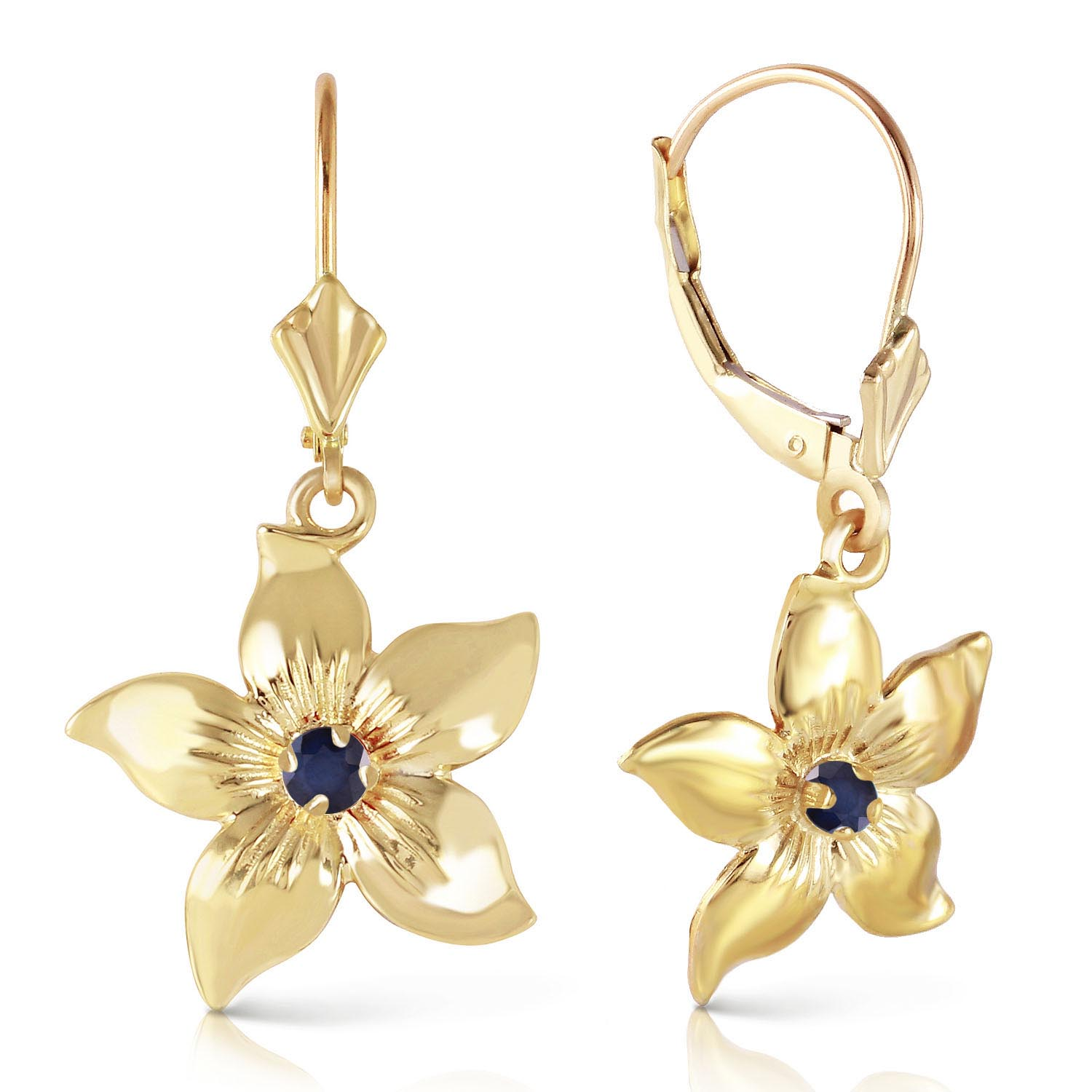 Sapphire Flower Star Drop Earrings 0.2 ctw in 9ct Gold