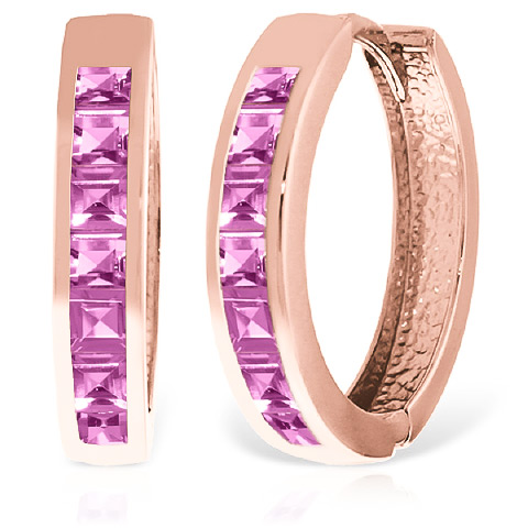 Sapphire Huggie Earrings 1.85 ctw in 9ct Rose Gold