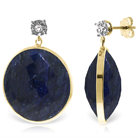 Sapphire Stud Earrings 46.06 ctw in 9ct Gold