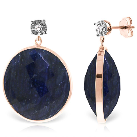 Sapphire Stud Earrings 46.06 ctw in 9ct Rose Gold