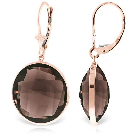 Smoky Quartz Drop Earrings 34 ctw in 9ct Rose Gold