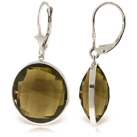 Smoky Quartz Drop Earrings 34 ctw in 9ct White Gold