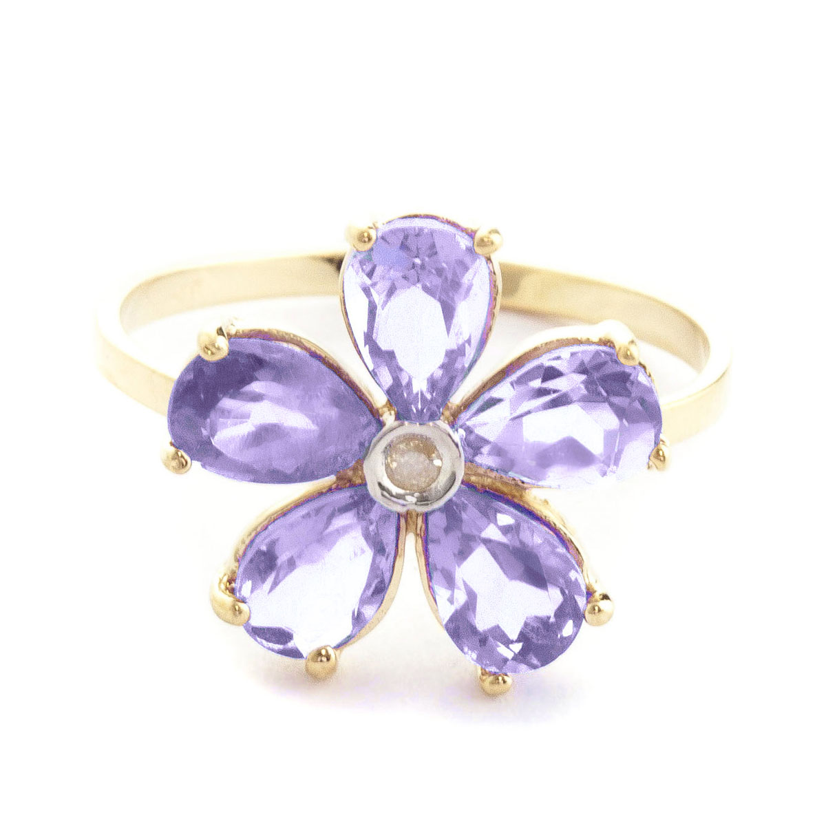 Tanzanite & Diamond Five Petal Ring in 18ct Gold