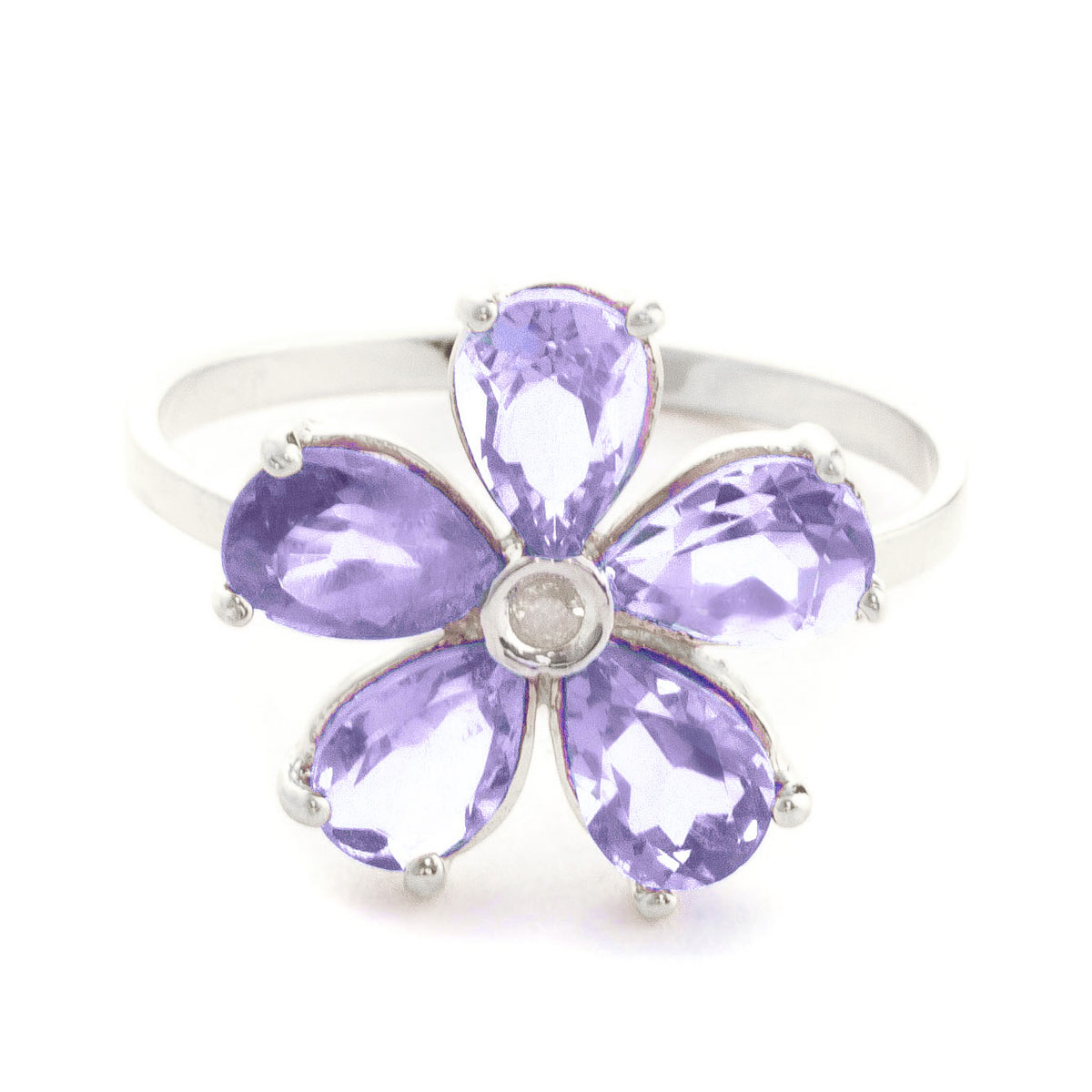 Tanzanite & Diamond Five Petal Ring in Sterling Silver