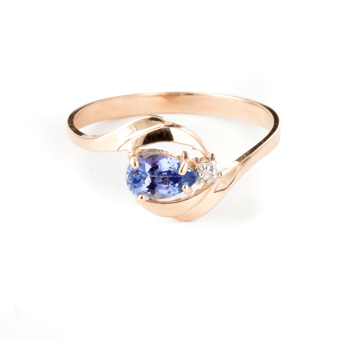 Tanzanite & Diamond Flare Ring in 18ct Rose Gold