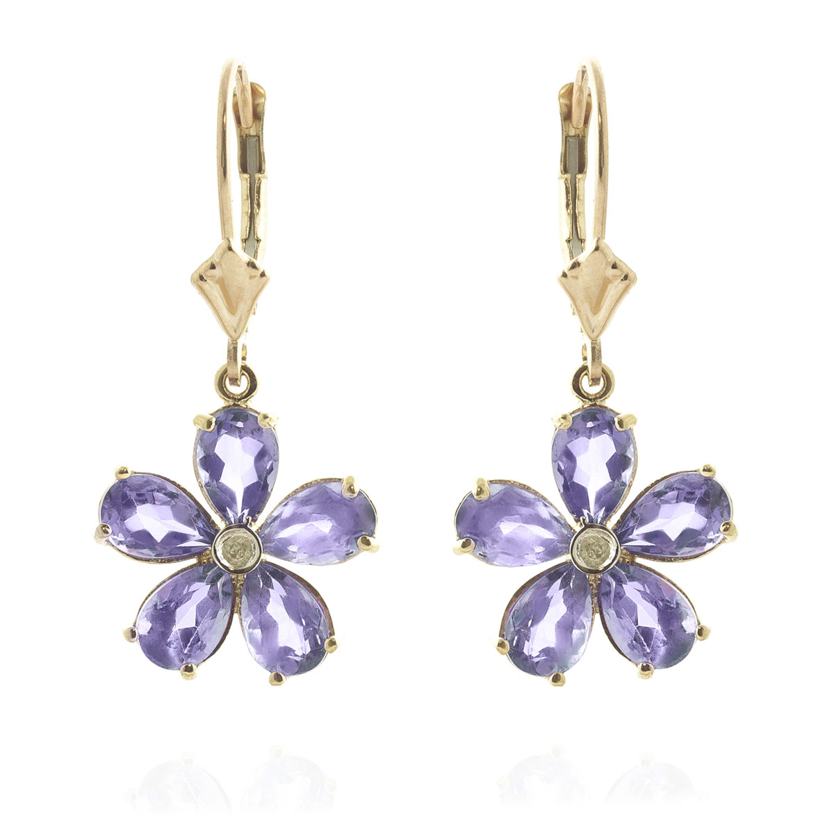 Tanzanite & Diamond Flower Petal Drop Earrings in 9ct Gold