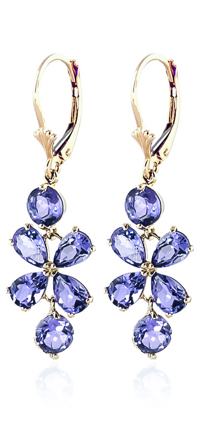 Tanzanite Blossom Drop Earrings 5.32 ctw in 9ct Gold