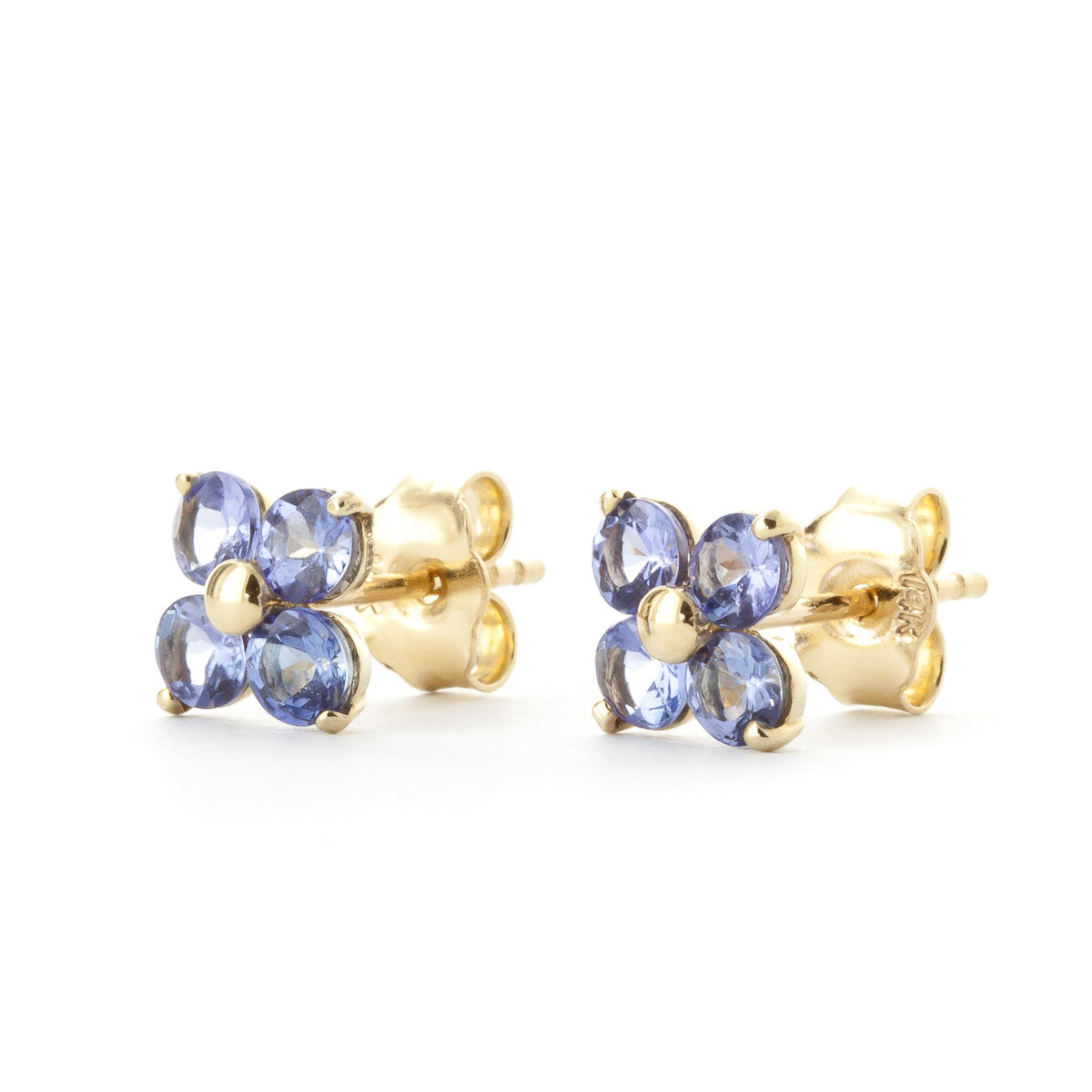 Tanzanite Clover Stud Earrings 1.15 ctw in 9ct Gold