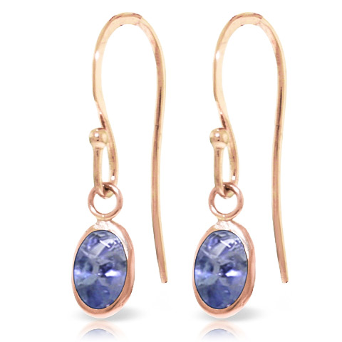 Tanzanite Drop Earrings 1 ctw in 9ct Rose Gold