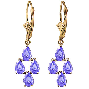 Tanzanite Drop Earrings 4.5 ctw in 9ct Gold