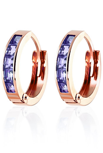 Tanzanite Huggie Earrings 0.95 ctw in 9ct Rose Gold