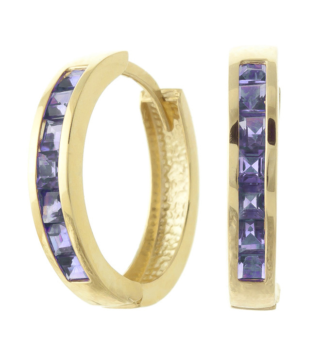 Tanzanite Huggie Earrings 1.35 ctw in 9ct Gold