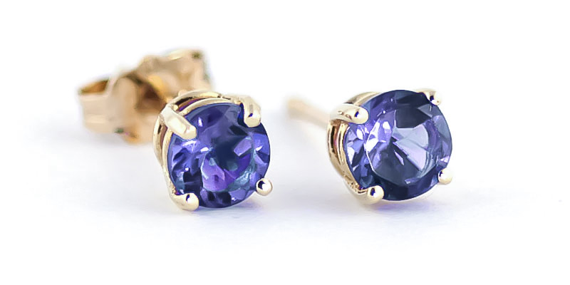 Tanzanite Stud Earrings 0.95 ctw in 9ct Gold