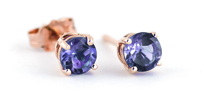 Tanzanite Stud Earrings 0.95 ctw in 9ct Rose Gold
