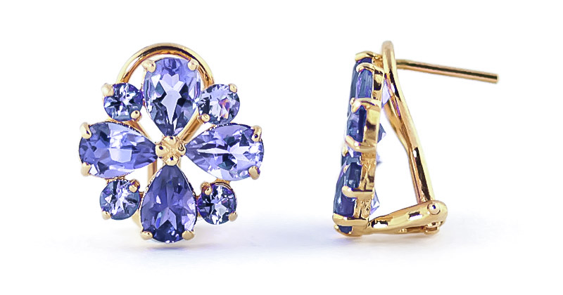 Tanzanite Sunflower Stud Earrings 4.85 ctw in 9ct Gold