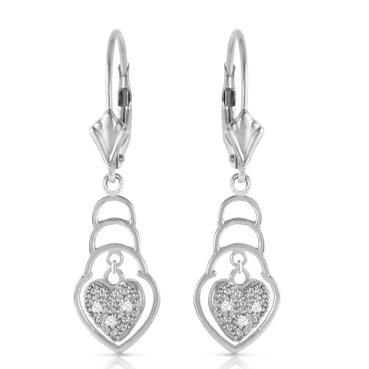 Diamond Wireframe Drop Earrings in 9ct White Gold