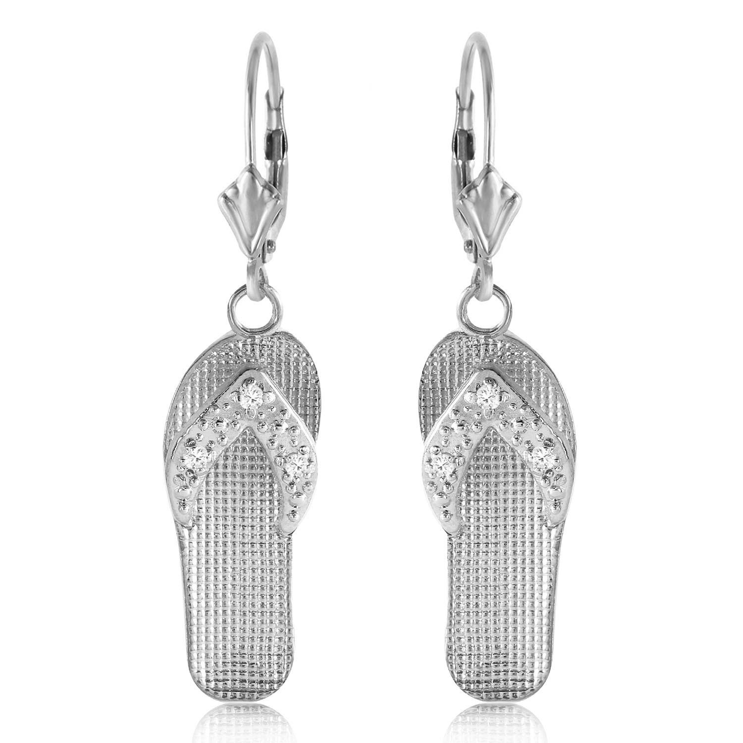 Diamond Sandal Drop Earrings in 9ct White Gold
