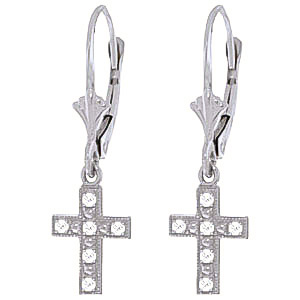 Diamond Cross Drop Earrings in 9ct White Gold