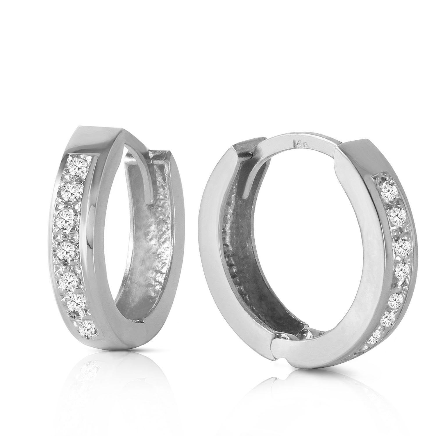 Diamond Huggie Earrings in 9ct White Gold