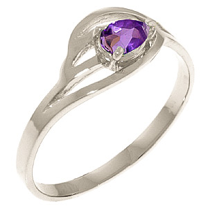 Pear Cut Amethyst Ring 0.3ct in 9ct White Gold