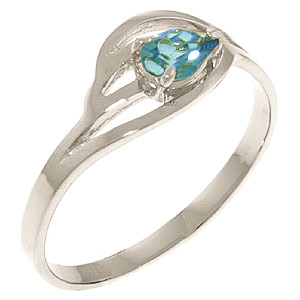 Pear Cut Blue Topaz Ring 0.3ct in 9ct White Gold