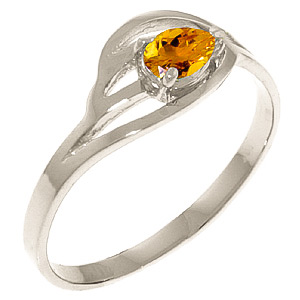 Pear Cut Citrine Ring 0.3ct in 9ct White Gold