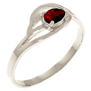 Pear Cut Garnet Ring 0.3ct in 9ct White Gold