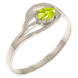 Pear Cut Peridot Ring 0.3ct in 9ct White Gold