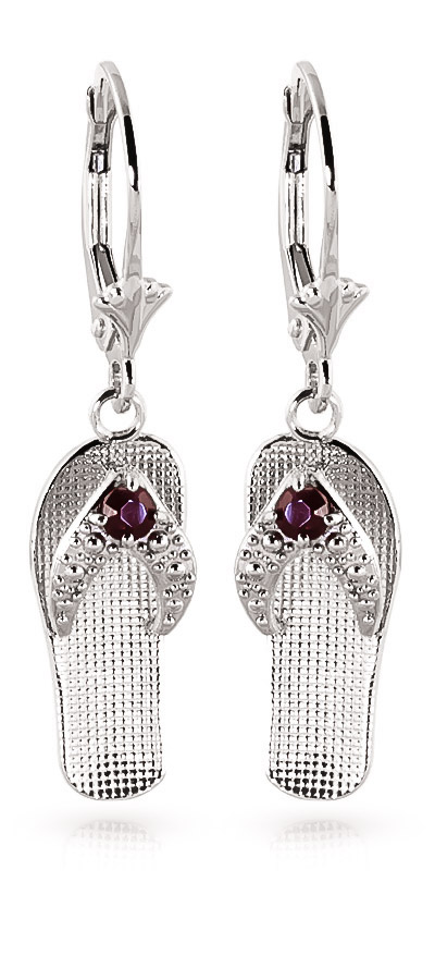 Ruby Sandal Drop Earrings 0.3ctw in 9ct White Gold