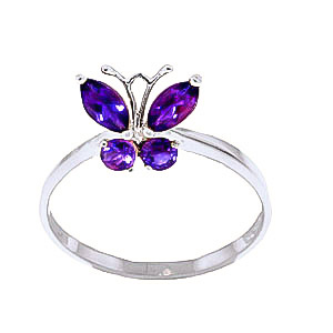 Amethyst Butterfly Ring 0.6ctw in 9ct White Gold
