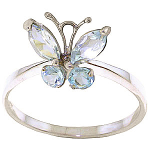 Aquamarine Butterfly Ring 0.6ctw in 9ct White Gold