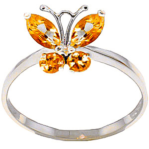 Citrine Butterfly Ring 0.6ctw in 9ct White Gold