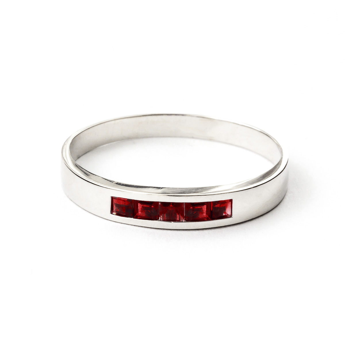 Princess Cut Garnet Ring 0.6ctw in 9ct White Gold