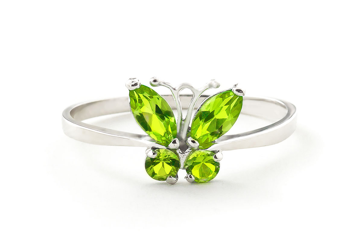Peridot Butterfly Ring 0.6ctw in 9ct White Gold