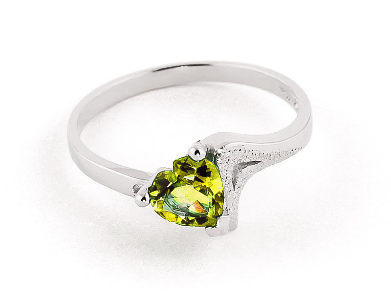 Peridot Devotion Heart Ring 0.6ct in 9ct White Gold