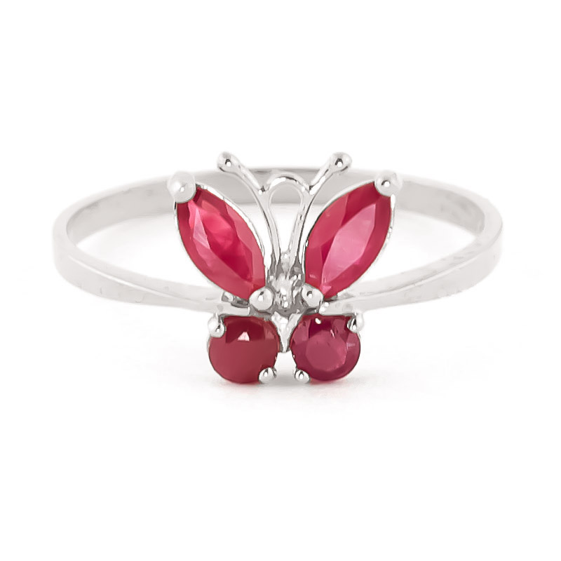 Ruby Butterfly Ring 0.6ctw in 9ct White Gold