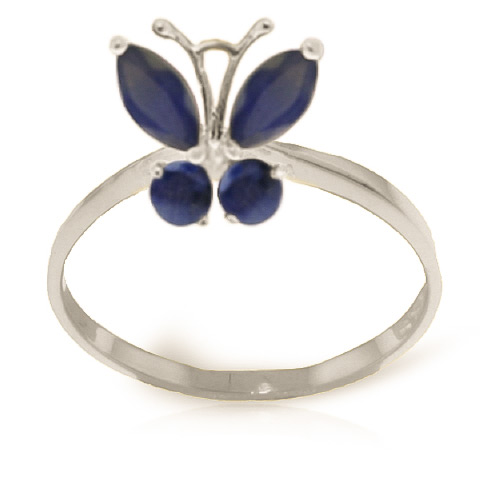 Sapphire Butterfly Ring 0.6ctw in 9ct White Gold