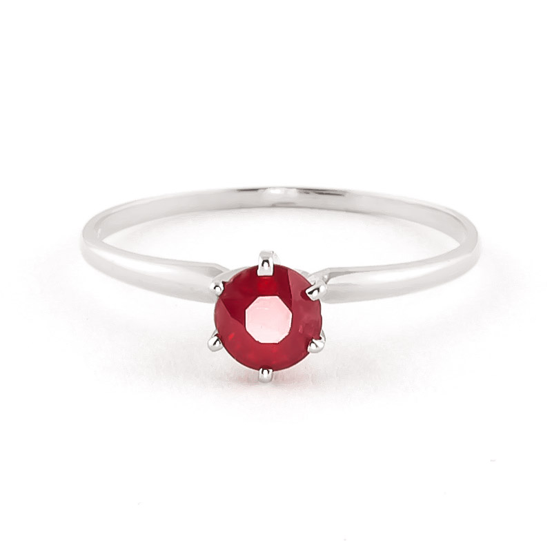 Ruby Crown Solitaire Ring 0.65ct in 9ct White Gold