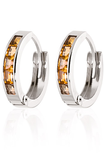 Citrine Huggie Earrings 0.7ctw in 9ct White Gold
