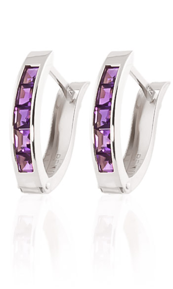 Stockists of Amethyst Acute Huggie Earrings 0.85ctw in 9ct White Gold