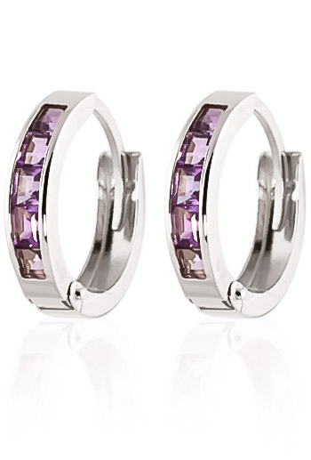 Amethyst Huggie Earrings 0.85ctw in 9ct White Gold